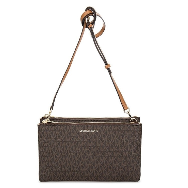 2c8f850a507b Shop Michael Kors Adele Double-Zip Brown Crossbody Bag - M - On Sale - Free  Shipping Today - Overstock - 15613718