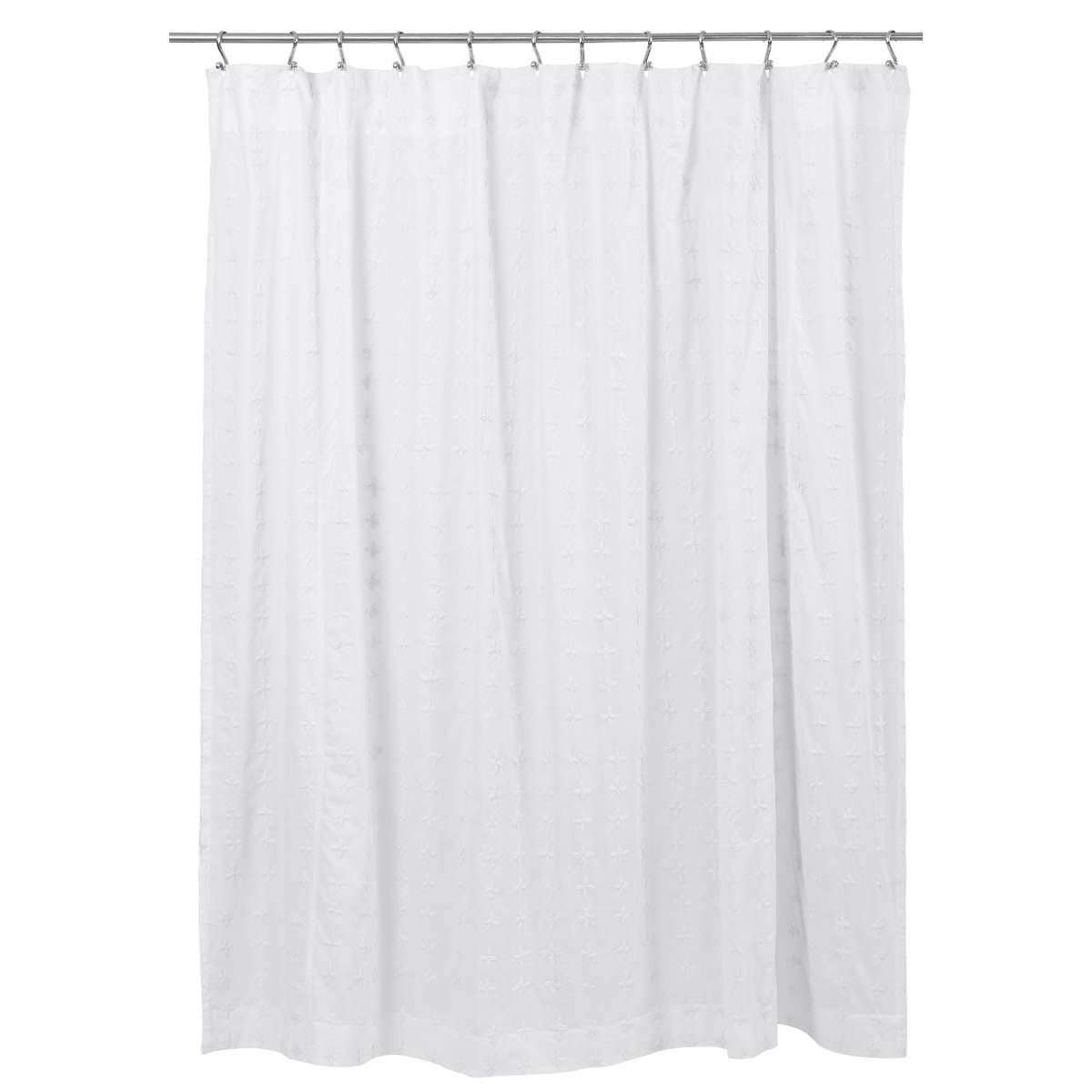 Shop Willow White Cotton Hand Embroidered Shower Curtain