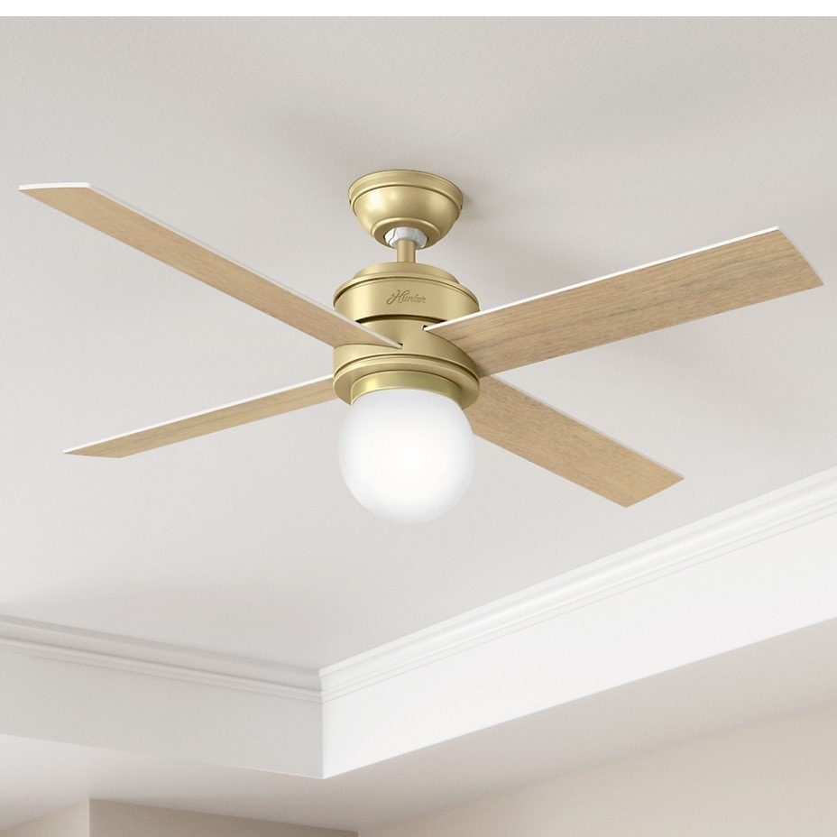 hunter brass ceiling fans. Perfect Fans Shop Hunter Fan Hepburn Brass 52inch Ceiling With 4 White GrainAged  Oak Reversible Blades  Bronze Free Shipping Today Overstockcom 15615125 To Fans