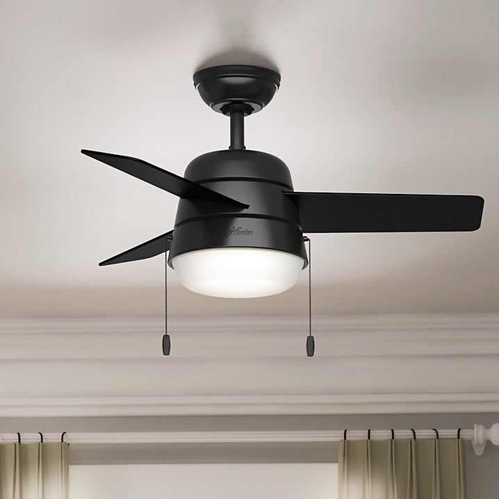 36 ceiling fan with light led indoor shop hunter fan aker matte black 36inch ceiling free shipping today overstockcom 15615175