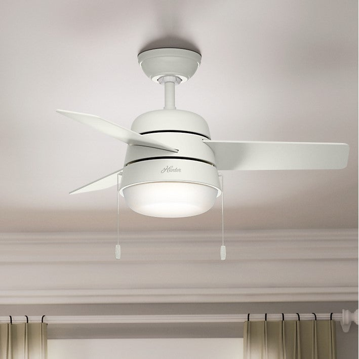 Hunter fan aker fresh white 36 inch ceiling fan with 3 fresh white hunter fan aker fresh white 36 inch ceiling fan with 3 fresh white natural wood reversible blades free shipping today overstock 22048844 aloadofball Image collections