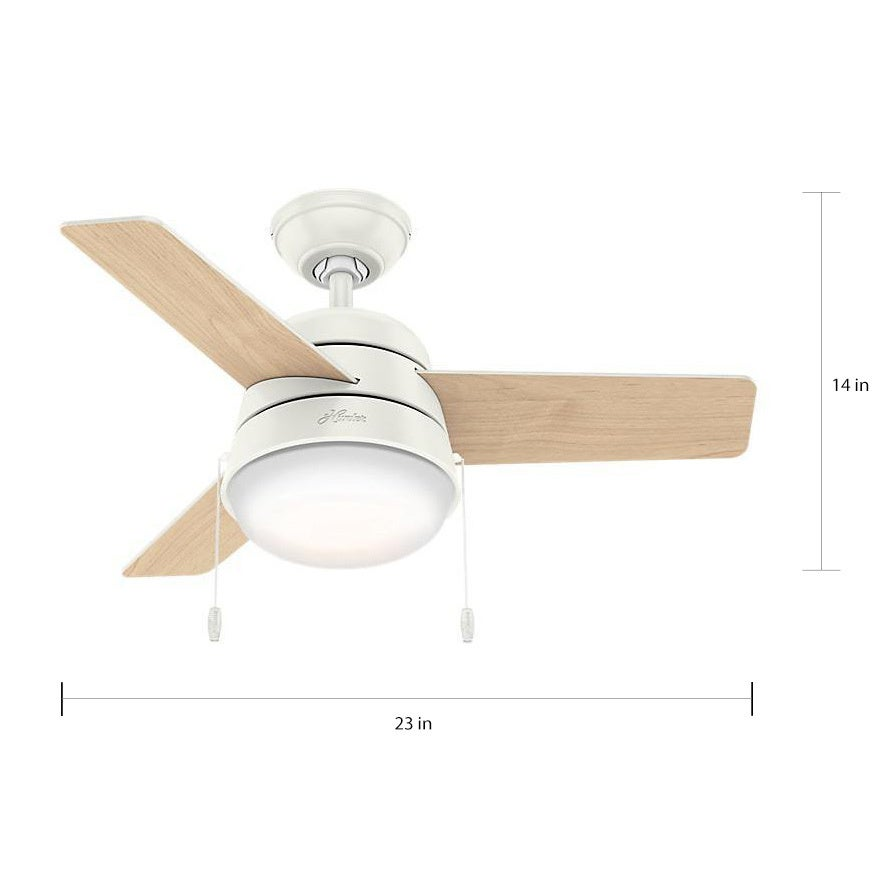 Hunter Fan Aker Fresh White 36 Inch Ceiling Fan With 3 Fresh White/ Natural  Wood Reversible Blades   Free Shipping Today   Overstock.com   22048844