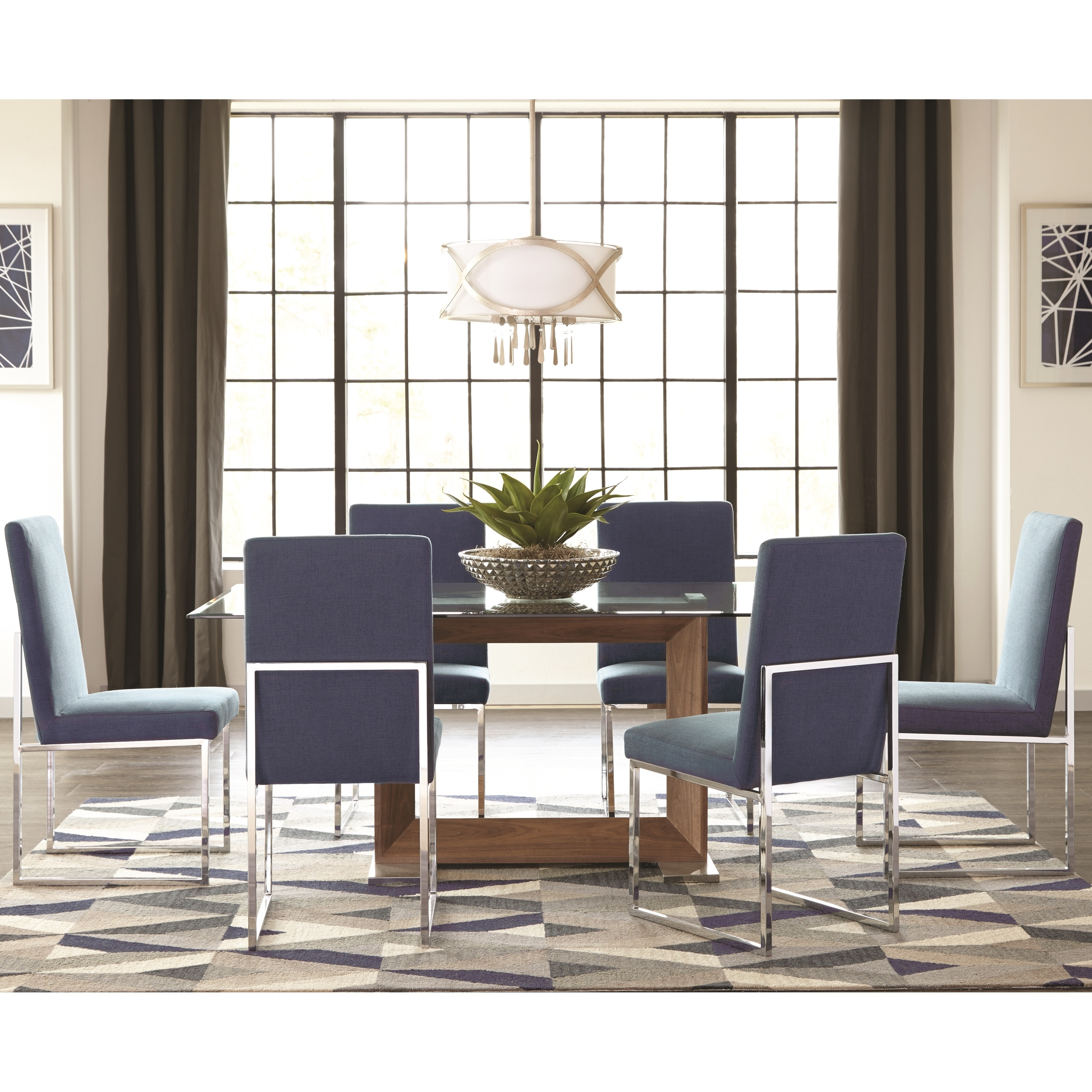 Modern Floating Design Glass Top Dining Set with Blue Chairs