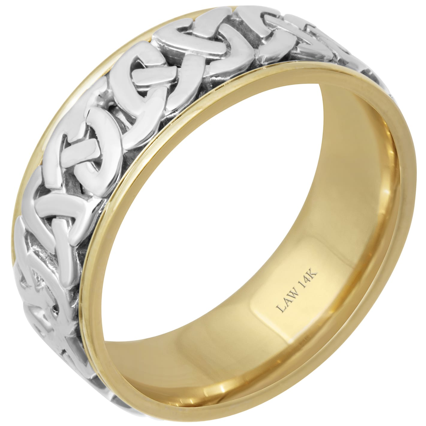 14k Two Tone Gold Celtic Love Knot Comfort Fit Men S Wedding Bands On Free Shipping Today 15616721