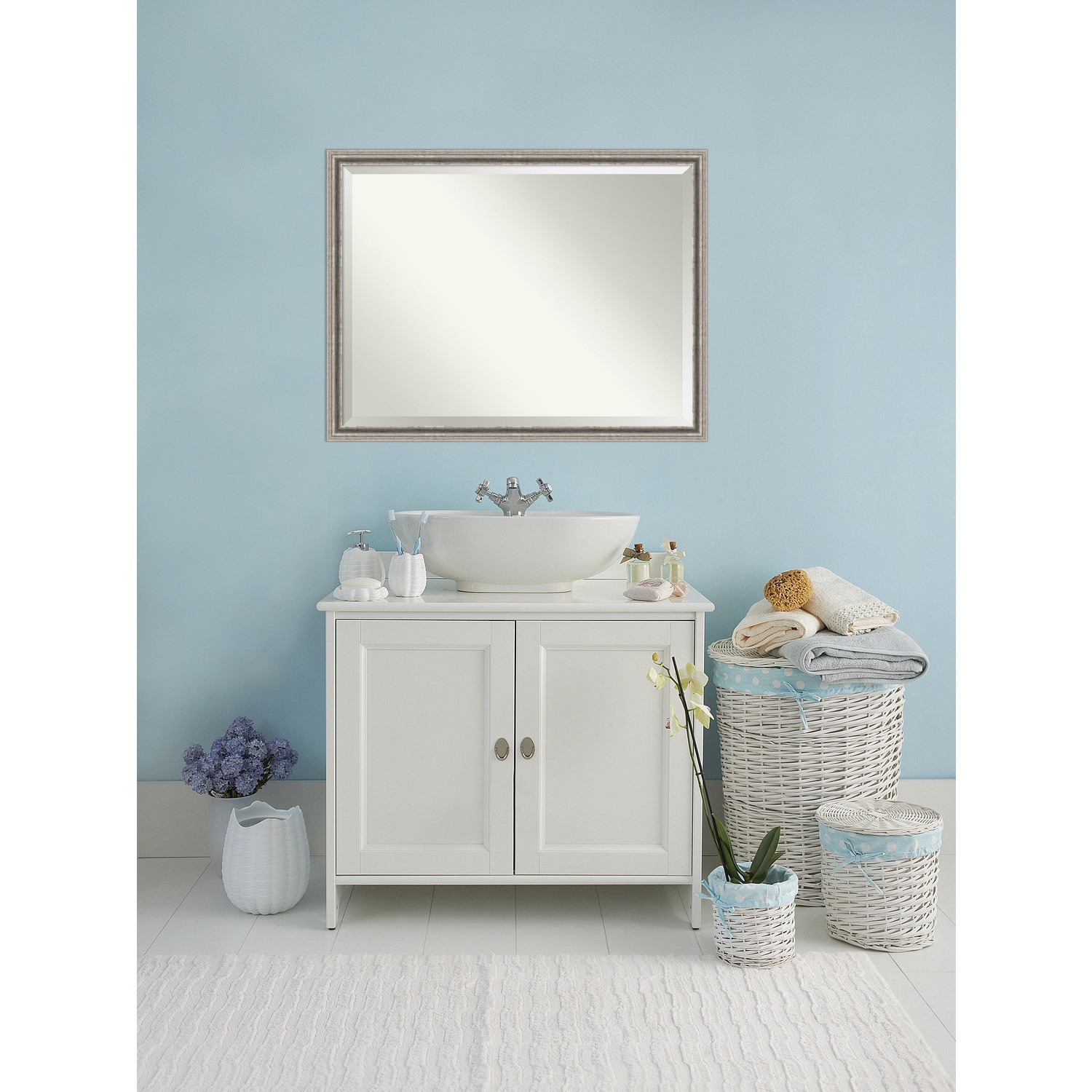 Bathroom Mirror Oversize Large, Bel Volto Silver 43 x 33-inch - Free ...