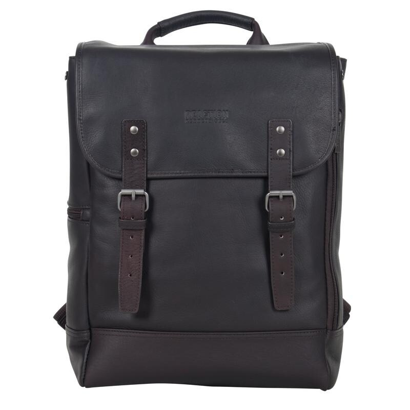 d3c424da4 Shop Kenneth Cole Reaction Colombian Leather Flapover RFID Protected 15-inch  Laptop Backpack - Free Shipping Today - Overstock - 15628052