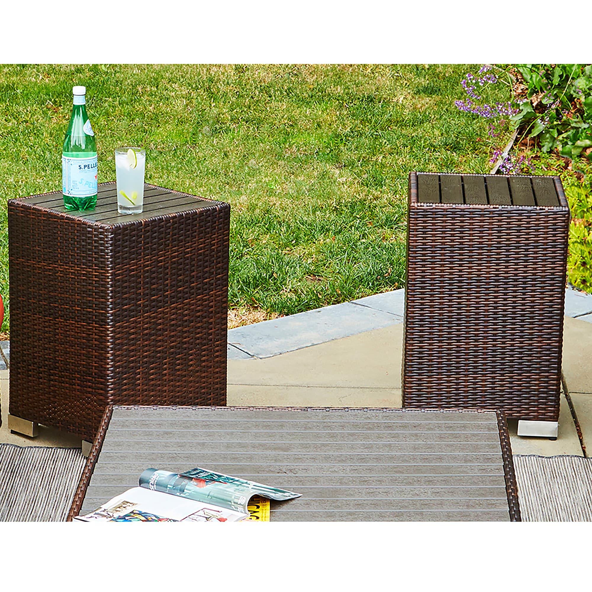 Havenside Home Stillwater Brown Indoor/Outdoor 2 Piece Rattan End Table Set