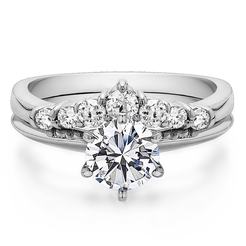 Curved Wedding Ring Set Includes 1 Ct Round Cz Solitaire With Sterling Silver Band Cubic Zirconia: Cubic Zirconia Curved Wedding Band At Reisefeber.org