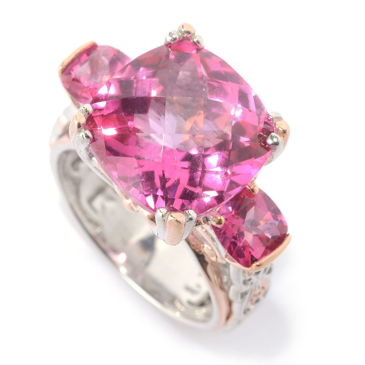 Shop Michael Valitutti Palladium Silver Checkerboard Cut Pink Topaz ...