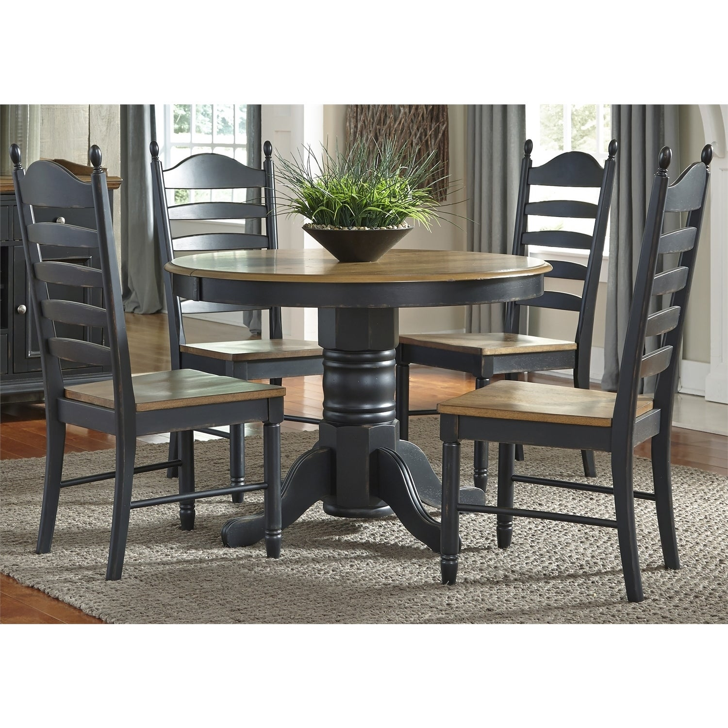 Shop Springfield II Honey And Black Oval Pedestal Dinette Table - Black oval pedestal dining table