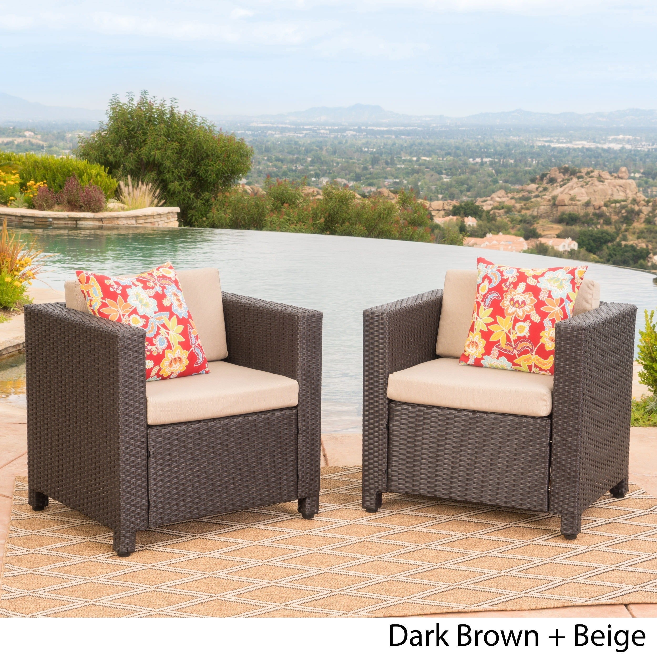 Puerta Outdoor Wicker Club Chair with Cushions Set of 2 by