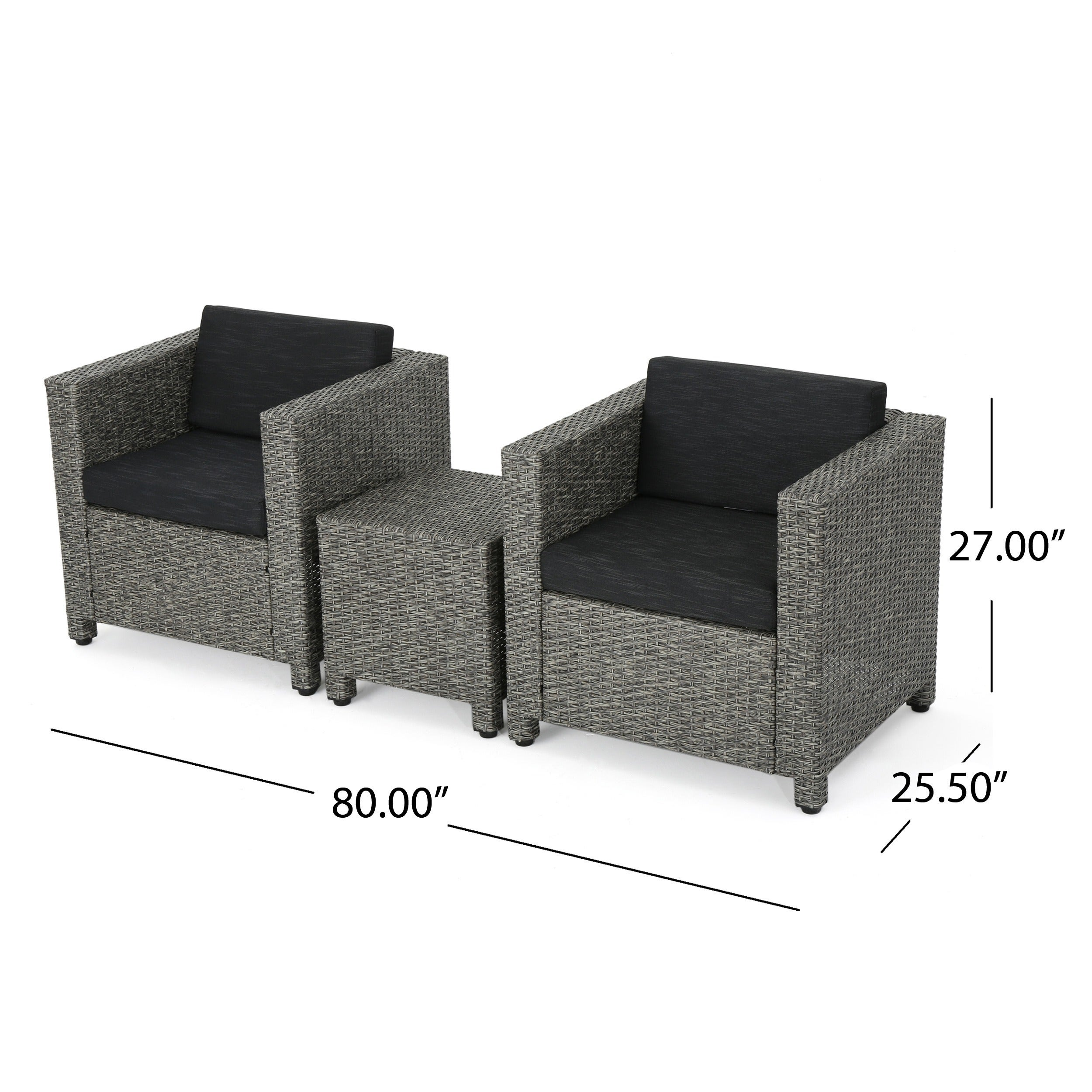 christopher knight home puerta grey outdoor wicker sofa set. Puerta Outdoor 3-piece Wicker Seating Set With Cushions By Christopher Knight Home - Free Shipping Today Overstock 22063052 Grey Sofa