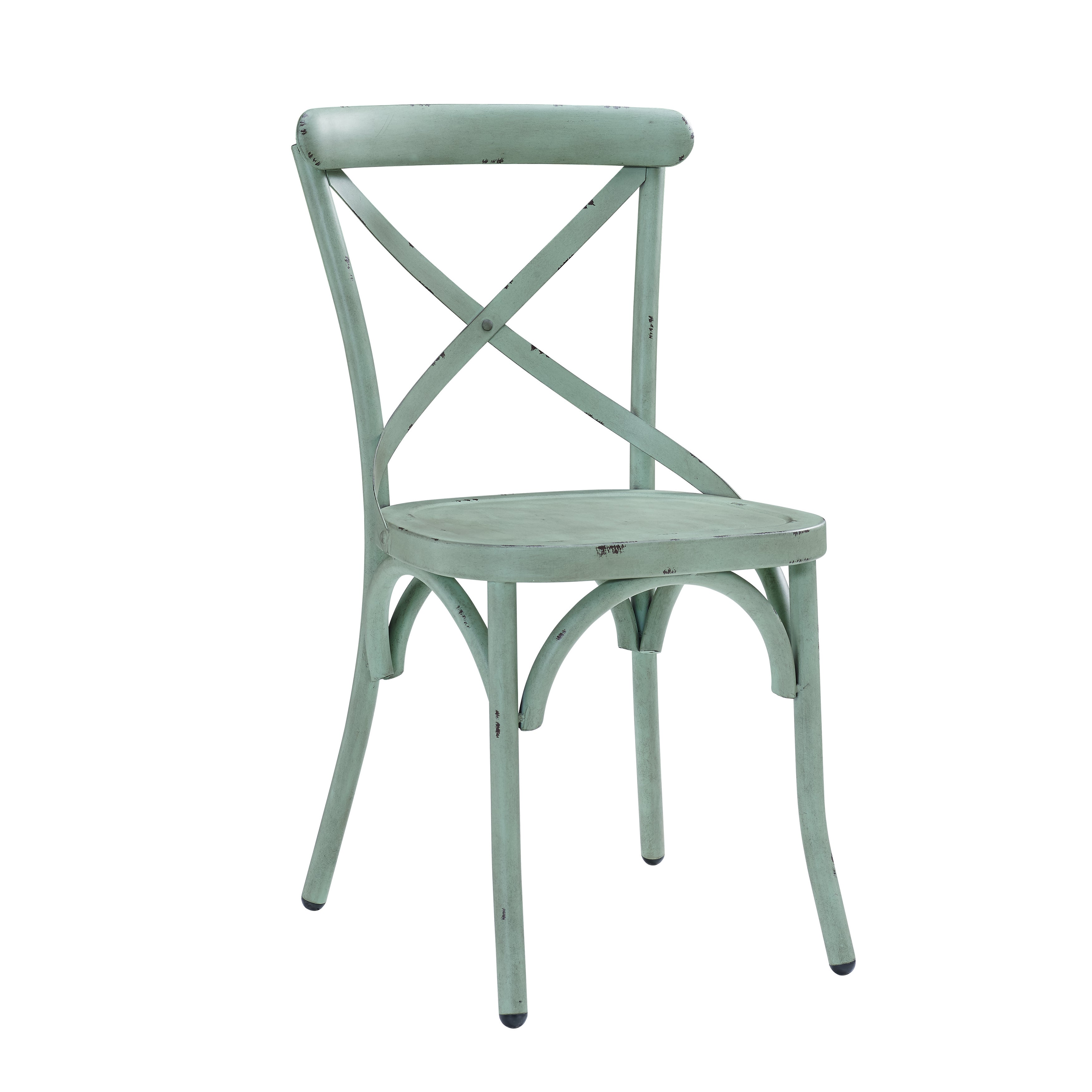 Distressed Antique Blue Metal Dining Chair - Free Shipping Today ...