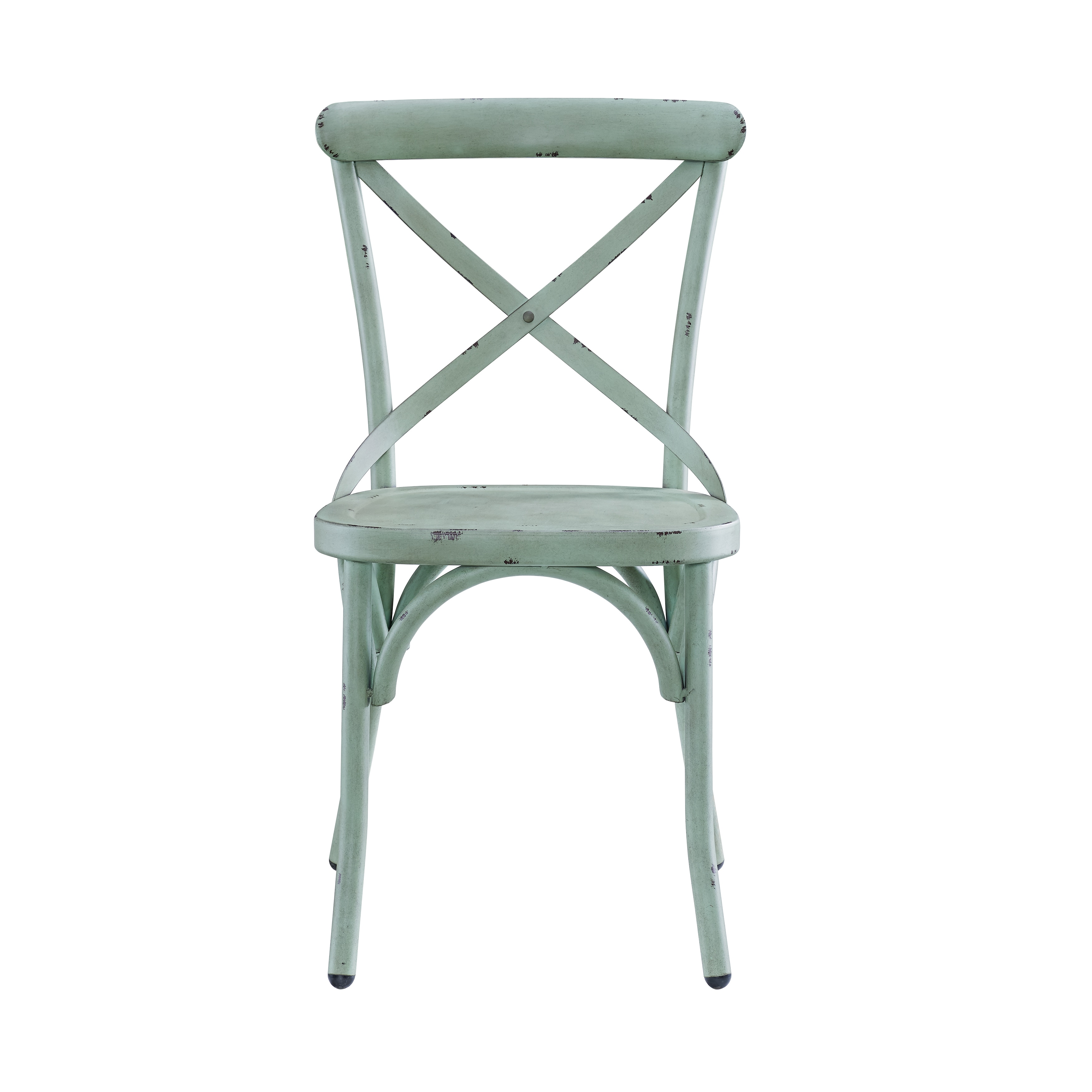 Distressed Antique Blue Metal Dining Chair