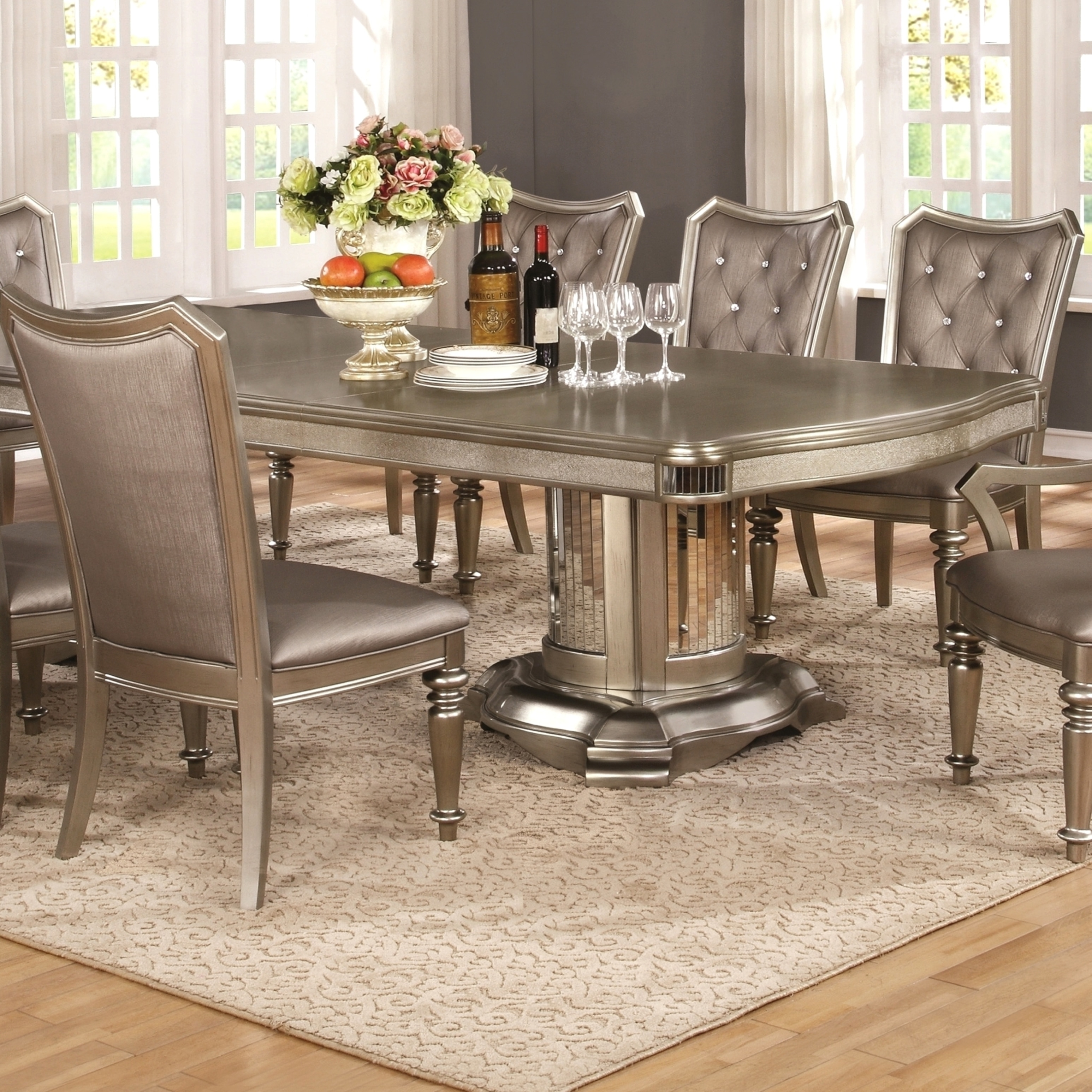 Glamour Design Metallic Platinum Rhinestone Button Tufted Dining Set   Free  Shipping Today   Overstock   22066234