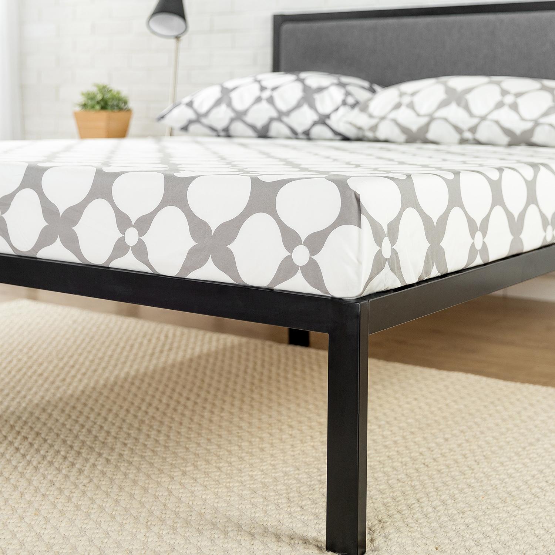 Shop Priage Black Steel Platform Bed Frame with Grey Upholstered ...