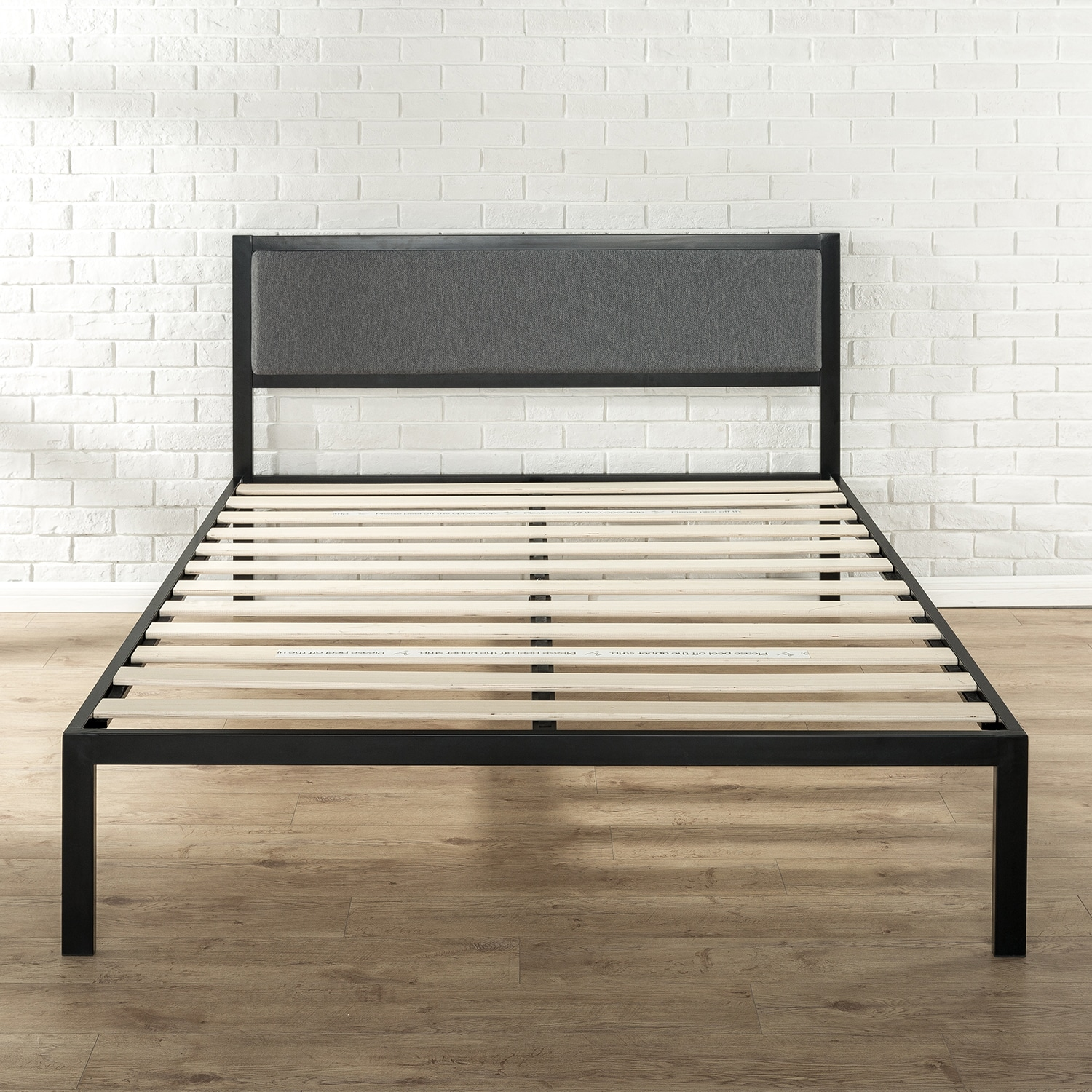 Shop Priage Black Steel Platform Bed Frame with Grey Upholstered ...
