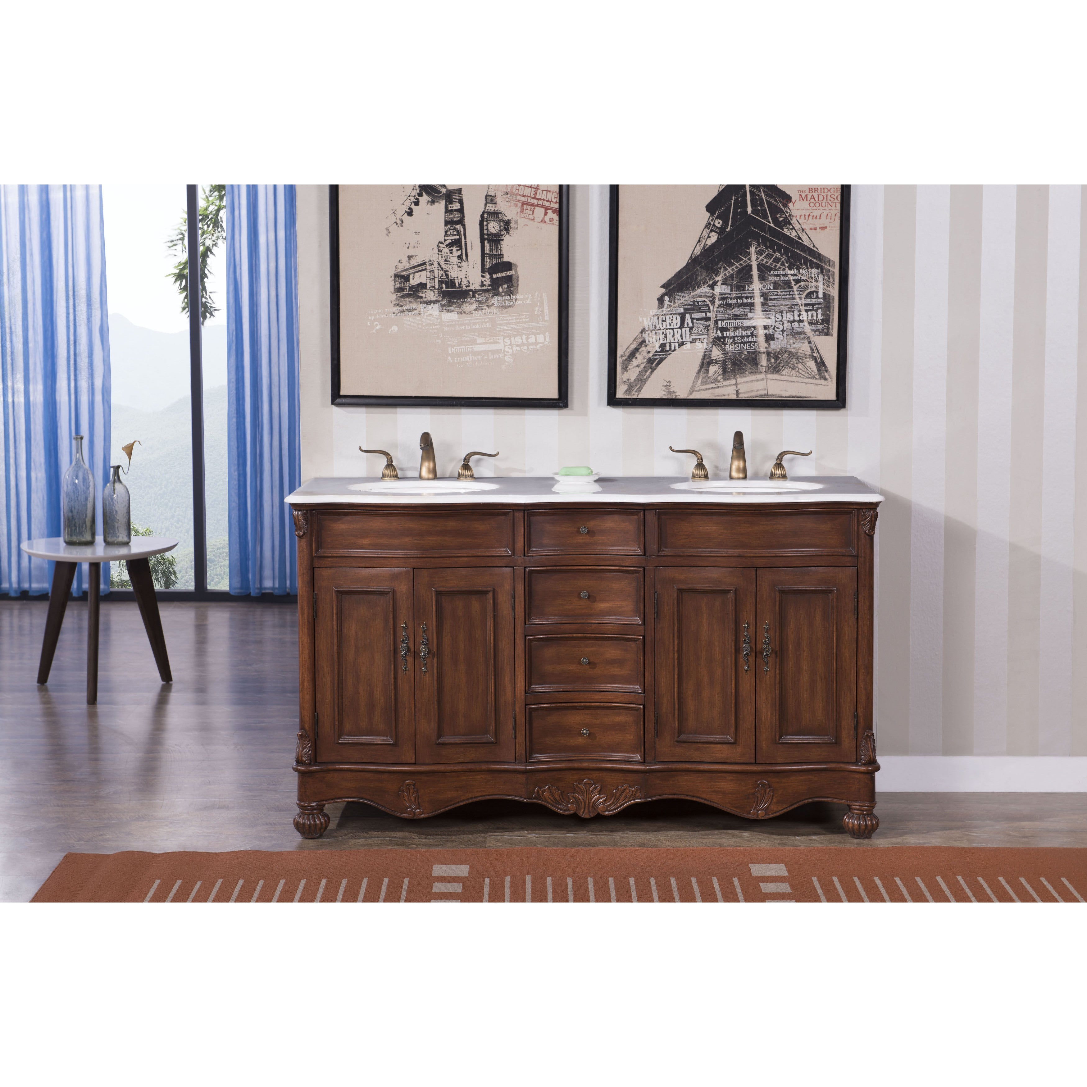 Shop Elegant Lighting Windsor 60 Inch Double Bathroom Vanity Free