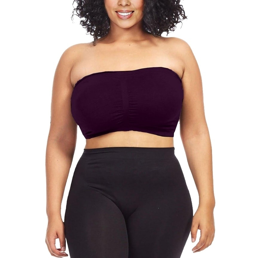 485df9e0198 Shop Plus Size Tube Top Strapless Seamless Bandeau Bra By Dinamit - On Sale  - Free Shipping On Orders Over  45 - Overstock - 15641084