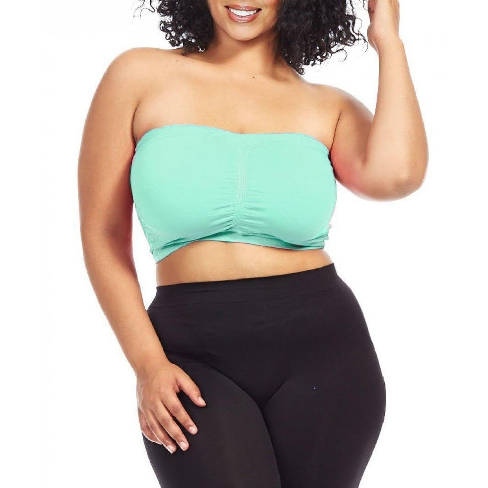 adcbed939c1 Shop Plus Size Tube Top Strapless Seamless Bandeau Bra By Dinamit - On Sale  - Free Shipping On Orders Over  45 - Overstock - 15641084
