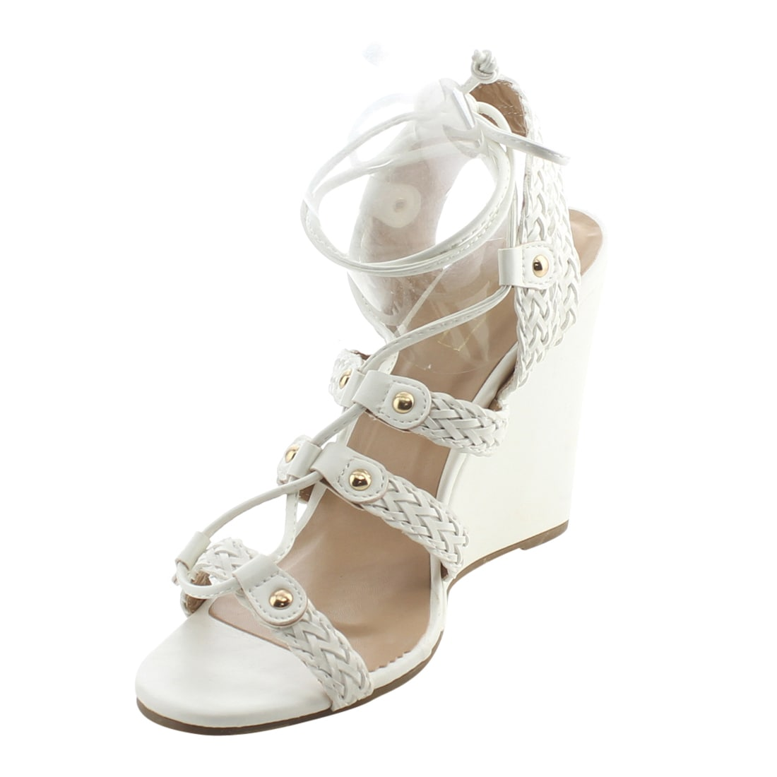 fe3be1c45680 Shop YOKI AG10 Women s Ankle Wrap Lace Up Braided Wedge Sandals - Free  Shipping On Orders Over  45 - Overstock.com - 15644211