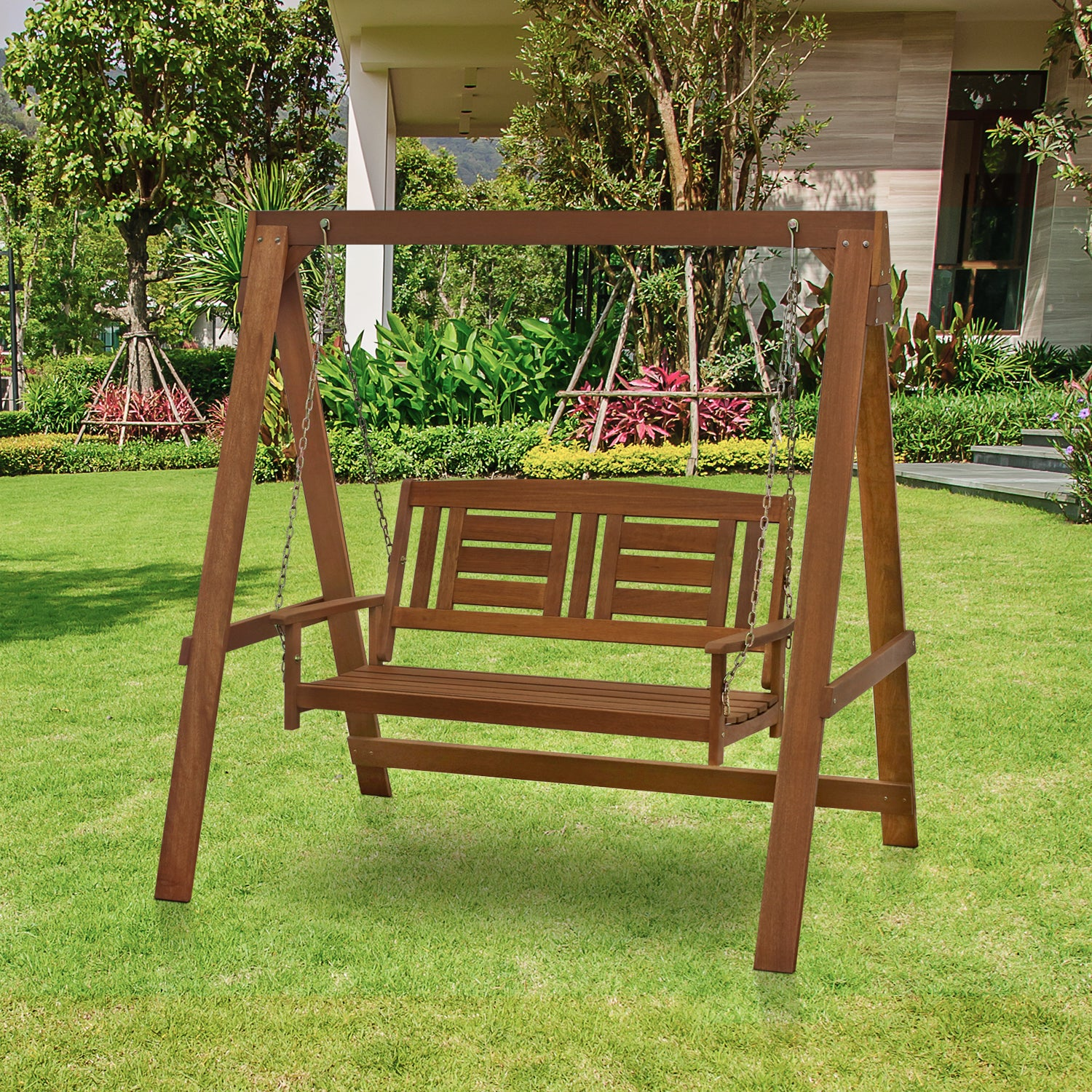Shop Furinno Tioman Hardwood Hanging Porch Swing With Stand In Teak Oil,  FG16409   On Sale   Free Shipping Today   Overstock.com   15645265