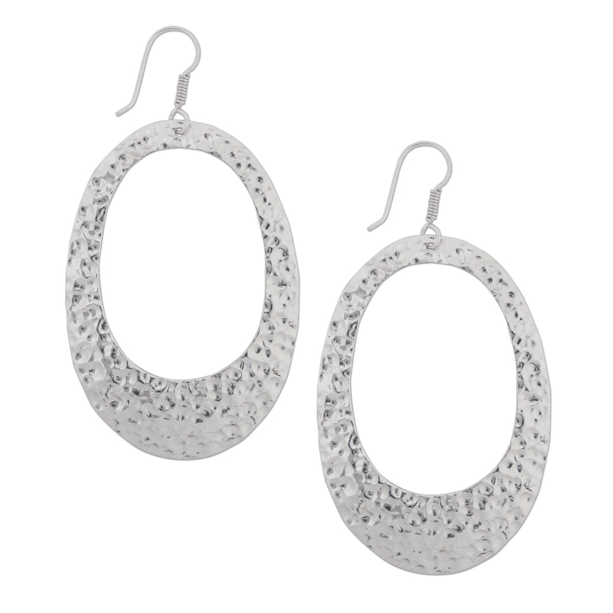 Handmade Sterling Silver Hammered Earrings Mexico On Free Shipping Today 15648443