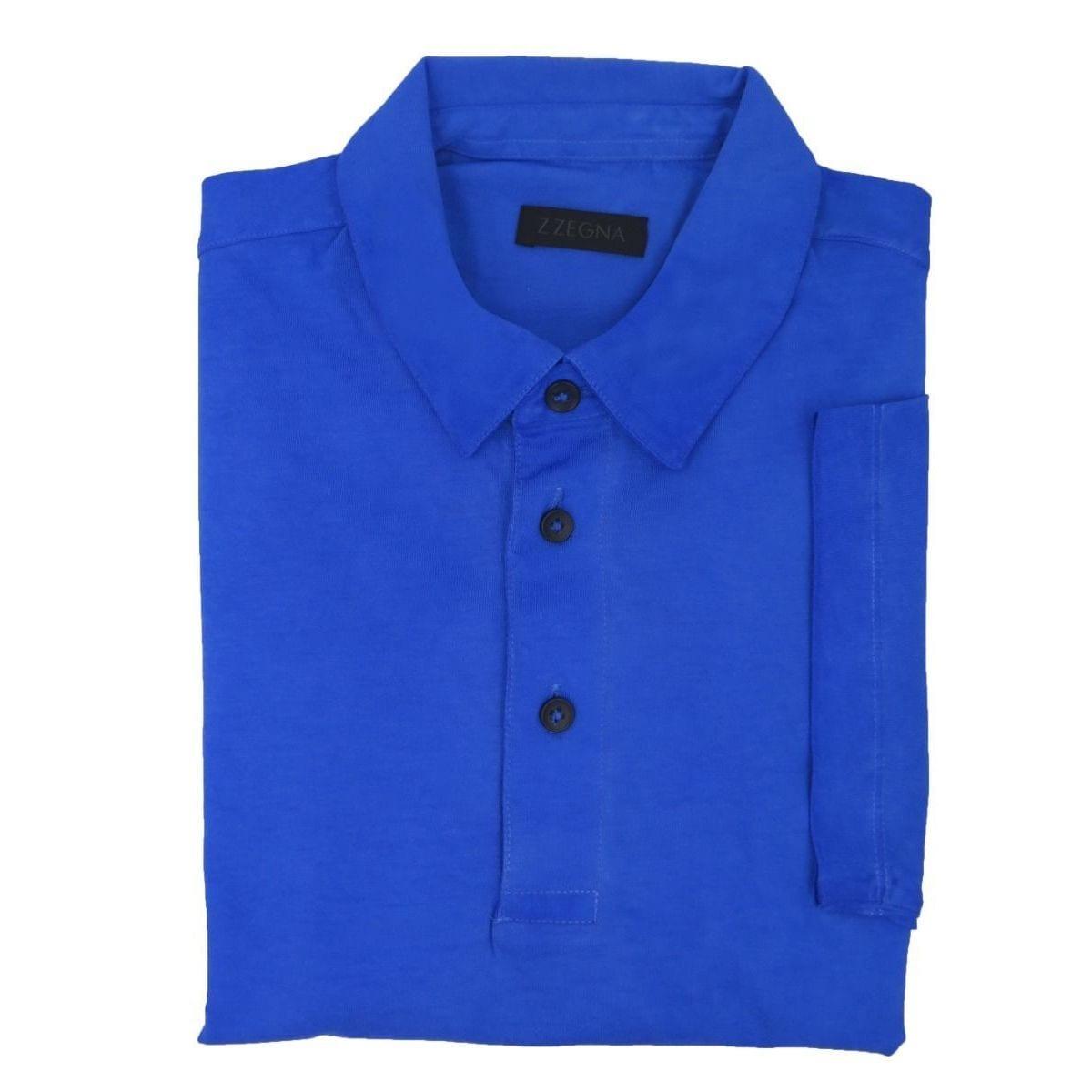 dbafa3b13 Shop Z Zegna Disressed Blue Polo T-shirt - On Sale - Free Shipping Today -  Overstock.com - 15649115