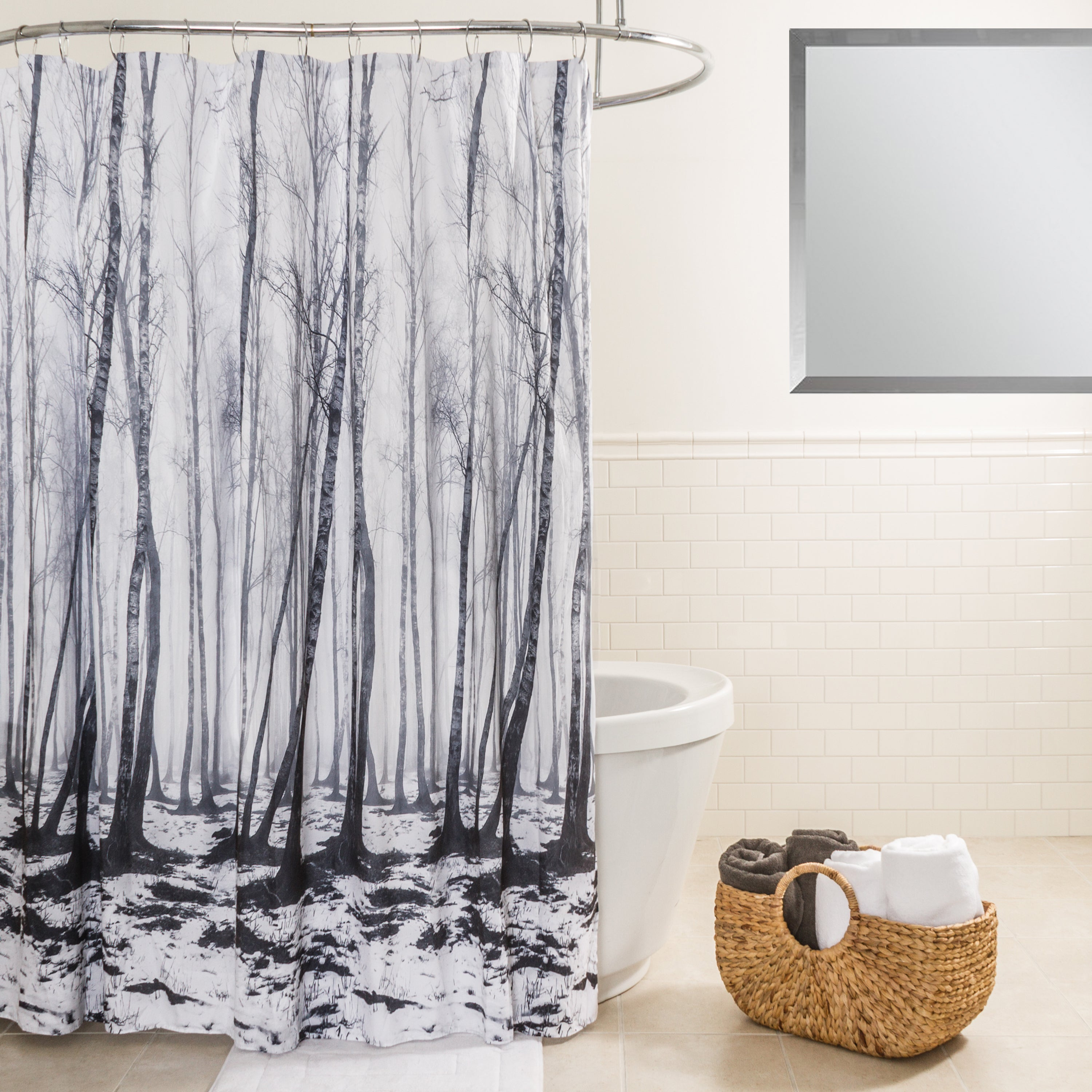 Splash Home Fog Forest Black And White Fabric Shower Curtain