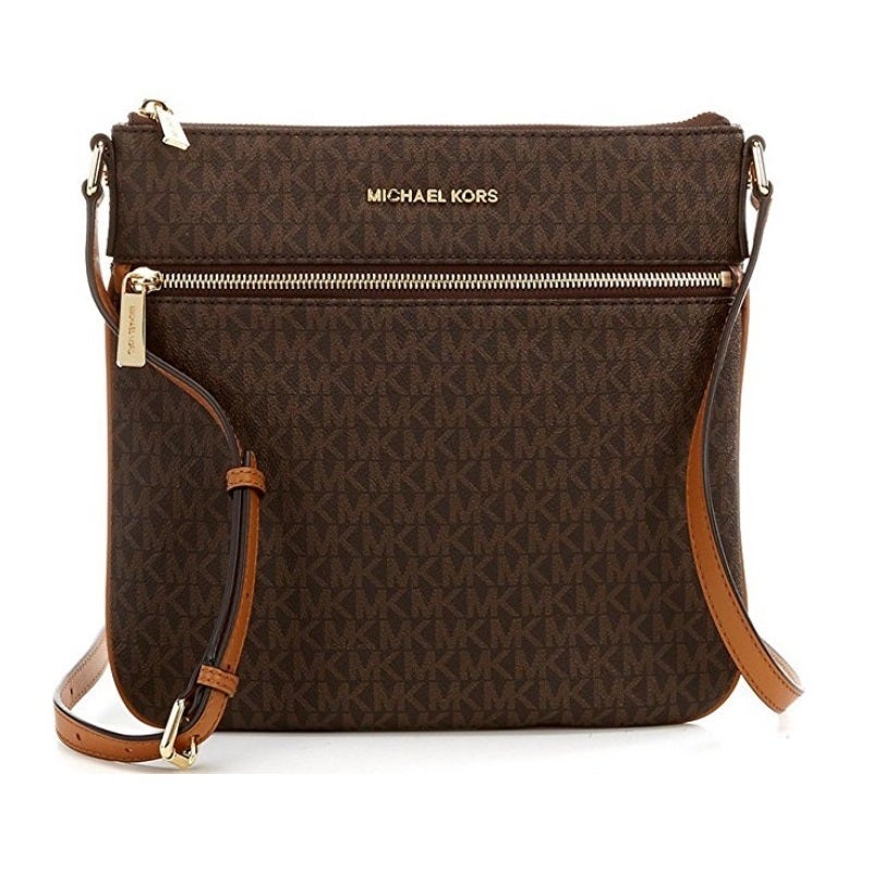 b6c32524d1f925 Shop Michael Kors Bedford Signature Flat Brown Crossbody Bag - On Sale -  Free Shipping Today - Overstock - 15677245