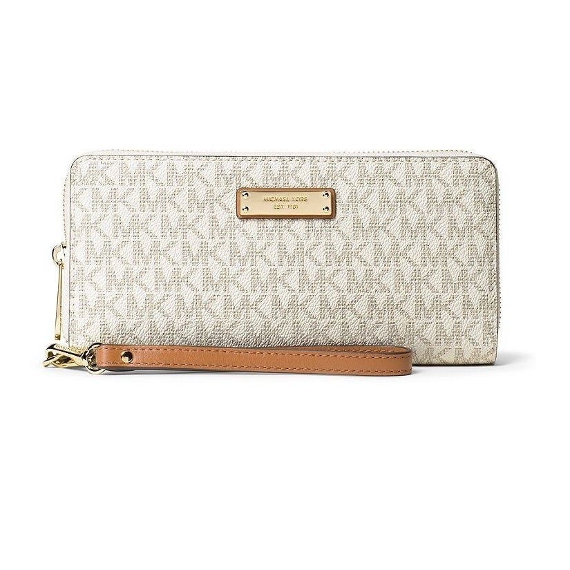 4e542b1712a2d3 Shop Michael Kors Jet Set Travel Vanilla Continental Wristlet Wallet ...
