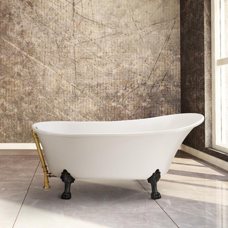 Shop Streamline White Acrylic 67-inch Clawfoot Soaking Tub - On Sale ...