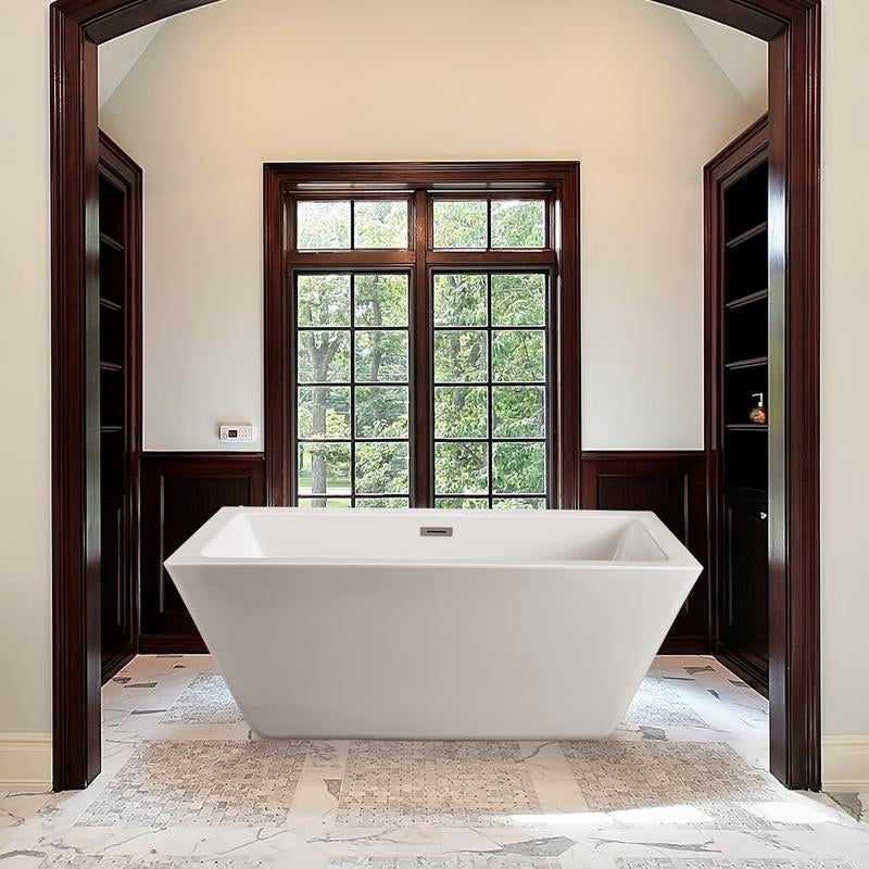 Streamline White 60-inch Freestanding Tub with Internal Drain - Free ...