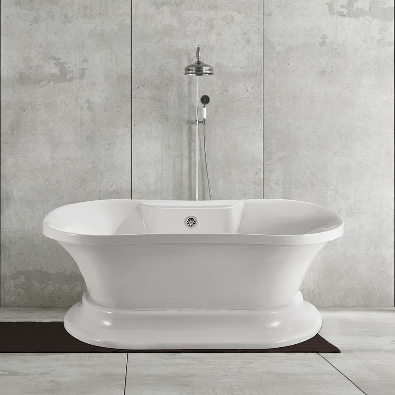 60 free standing tub. Streamline 60 Inch Soaking Freestanding Tub With External Drain  Free Shipping Today Overstock 22098833