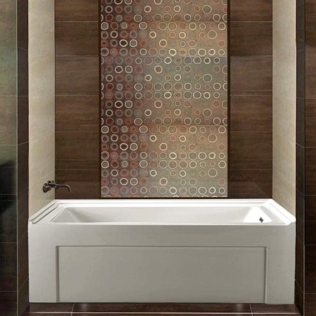 Shop Streamline White 60-inch Alcove Apron Soaking Tub with Internal ...