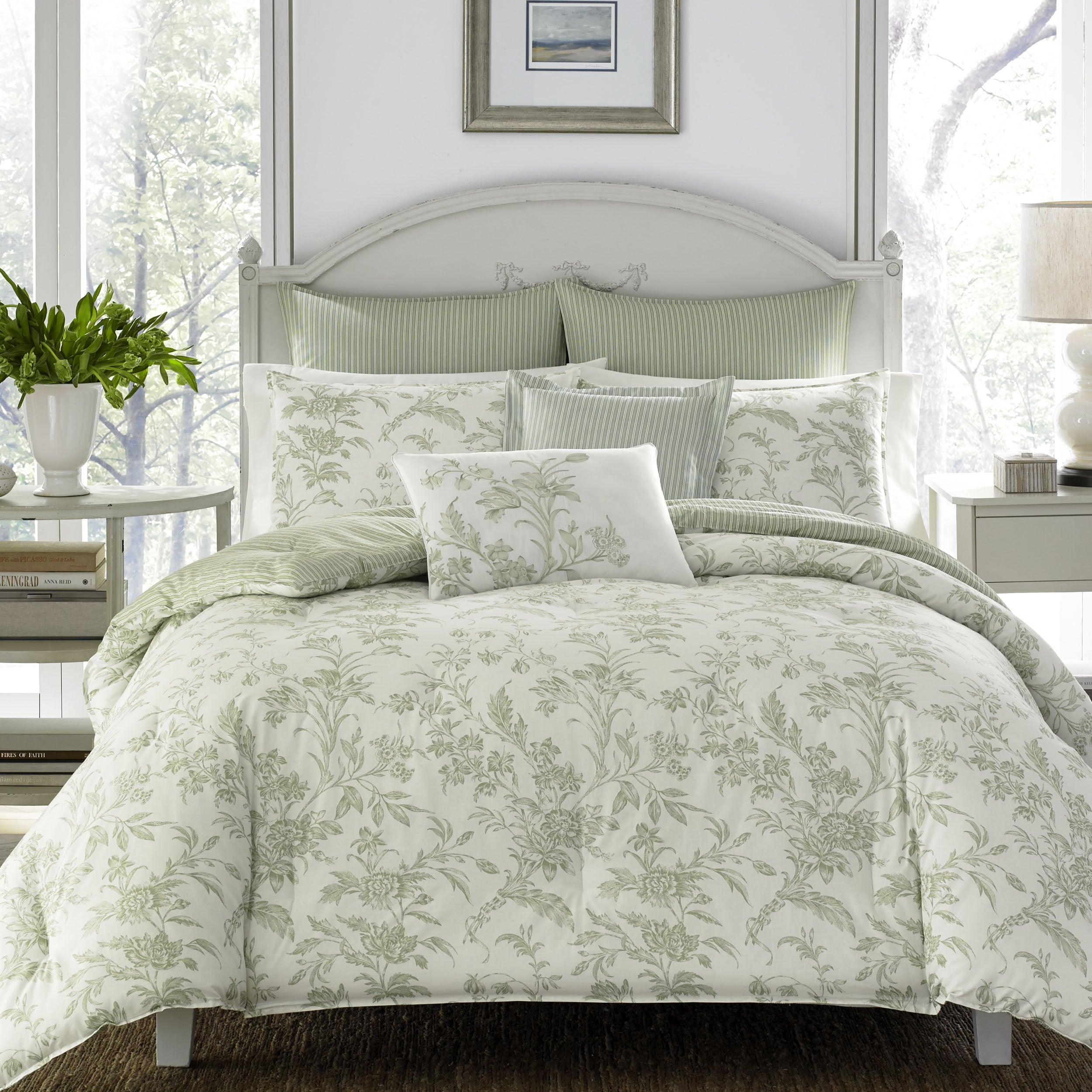 Remarkable Laura Ashley Natalie Green Floral Comforter Bonus Set Download Free Architecture Designs Scobabritishbridgeorg