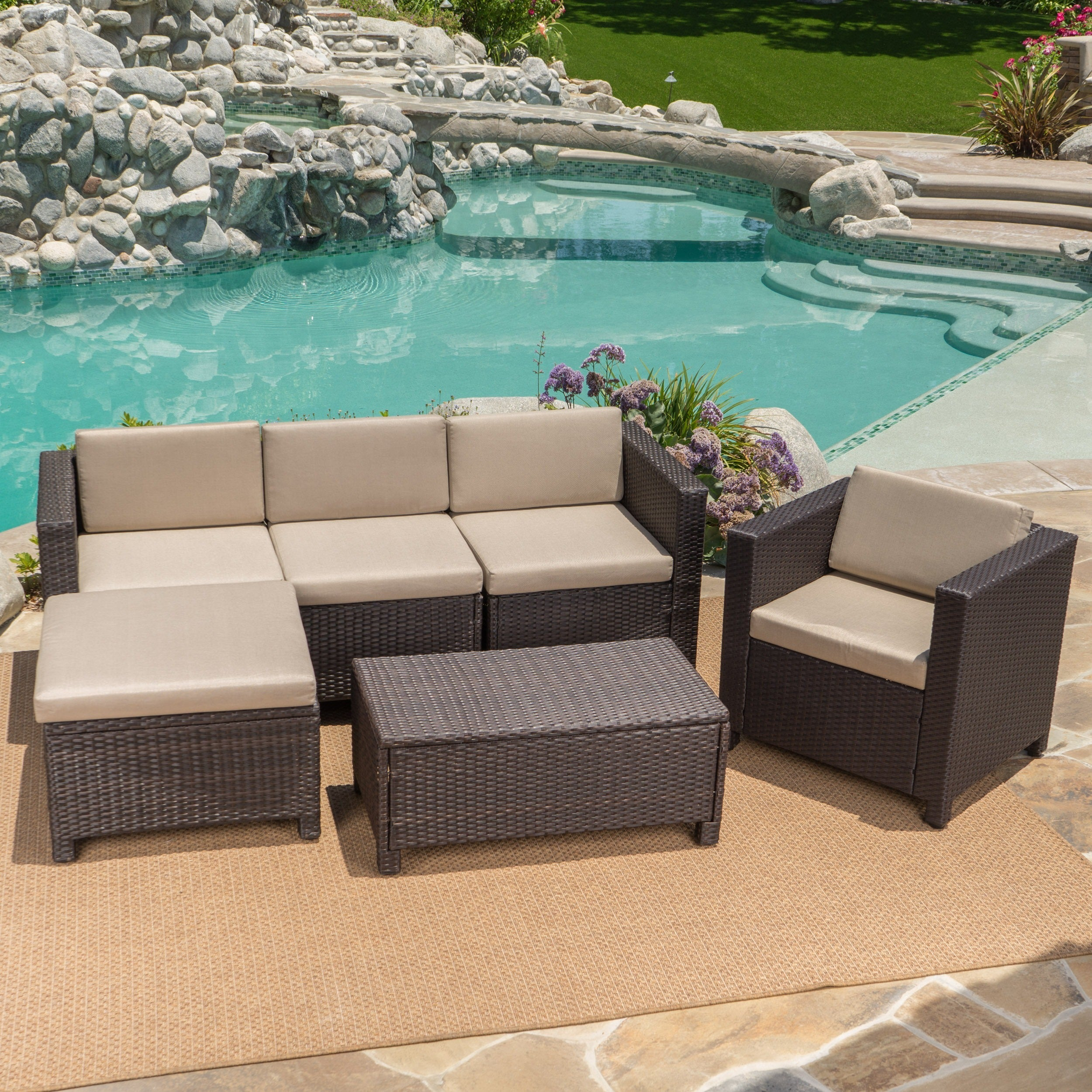 Puerta Outdoor 6 piece Wicker L Shaped Sectional Sofa Set with