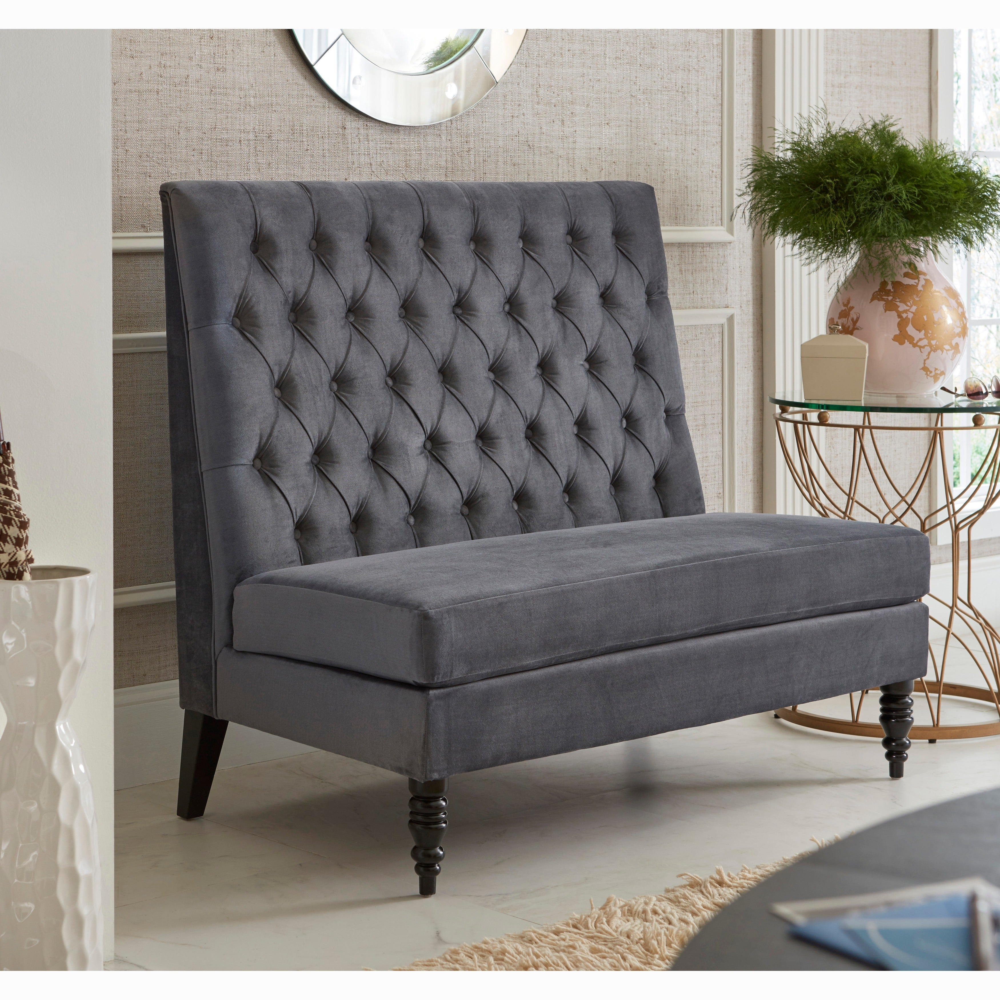 banquette shipping grey today velvet overstock home silver tufted garden bench product free curved upholstered
