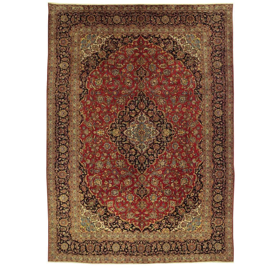 Handmade Herat Oriental Persian Kashan Wool Rug Iran 9 6 X 13 3