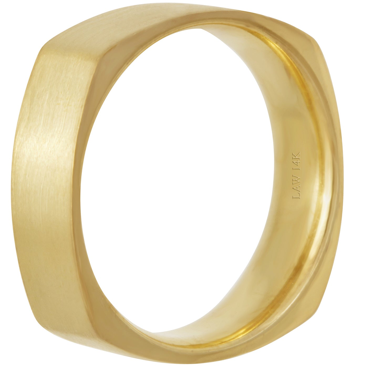 29962dc0074 Shop 14k Yellow Gold Plain Satin Comfort Fit Men s Square Wedding Bands -  Free Shipping Today - Overstock - 15807486