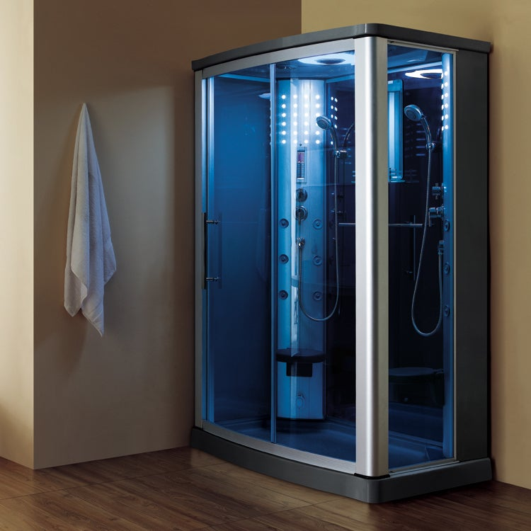 Shop Luxury 2-person Steam Shower with Sliding Glass Doors and Blue ...
