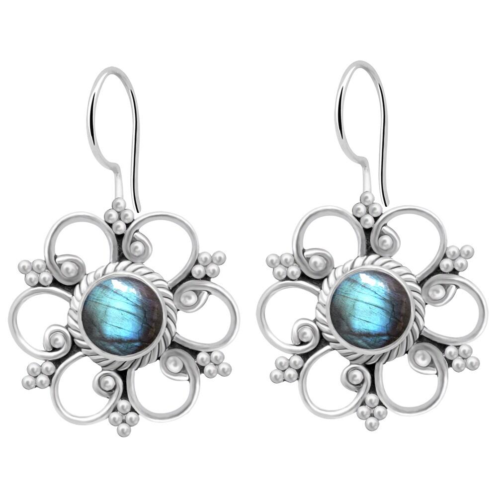 c5e641ad1 2.20 Carat Labradorite 925 Sterling Silver Flower Dangle Earrings By Orchid  Jewelry