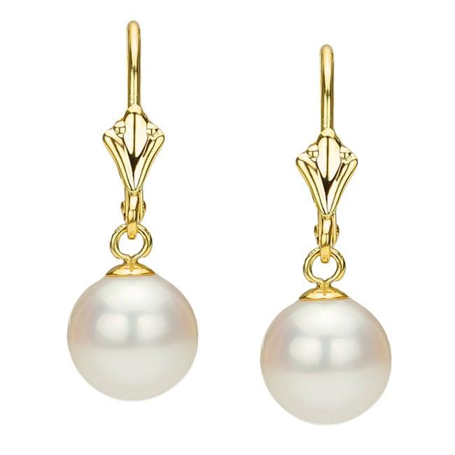 Davonna 14k Yellow Gold White Freshwater Pearl Er Fleur De Leverback Earring On Free Shipping Today 158493