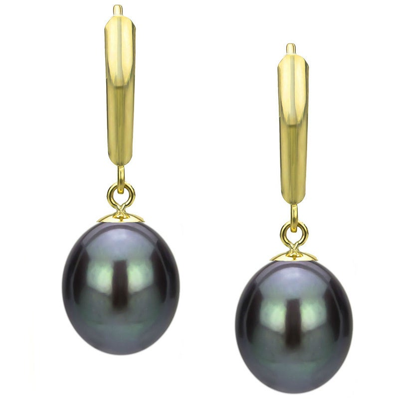 Davonna 14k Yellow Gold Black Freshwater Pearl Leverback Earrings