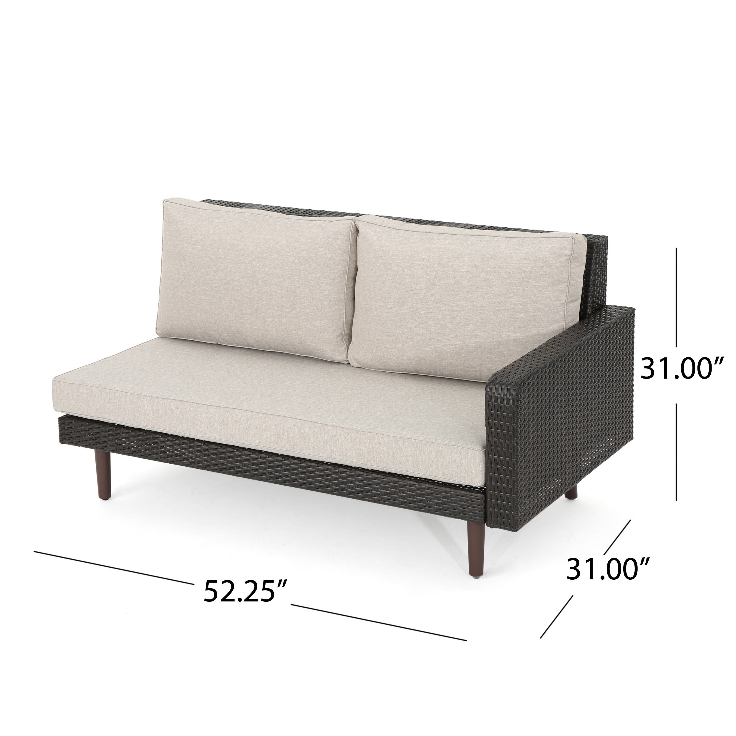 Tahiti Outdoor 4-piece Wicker Sectional Sofa Set with Cushions by ...
