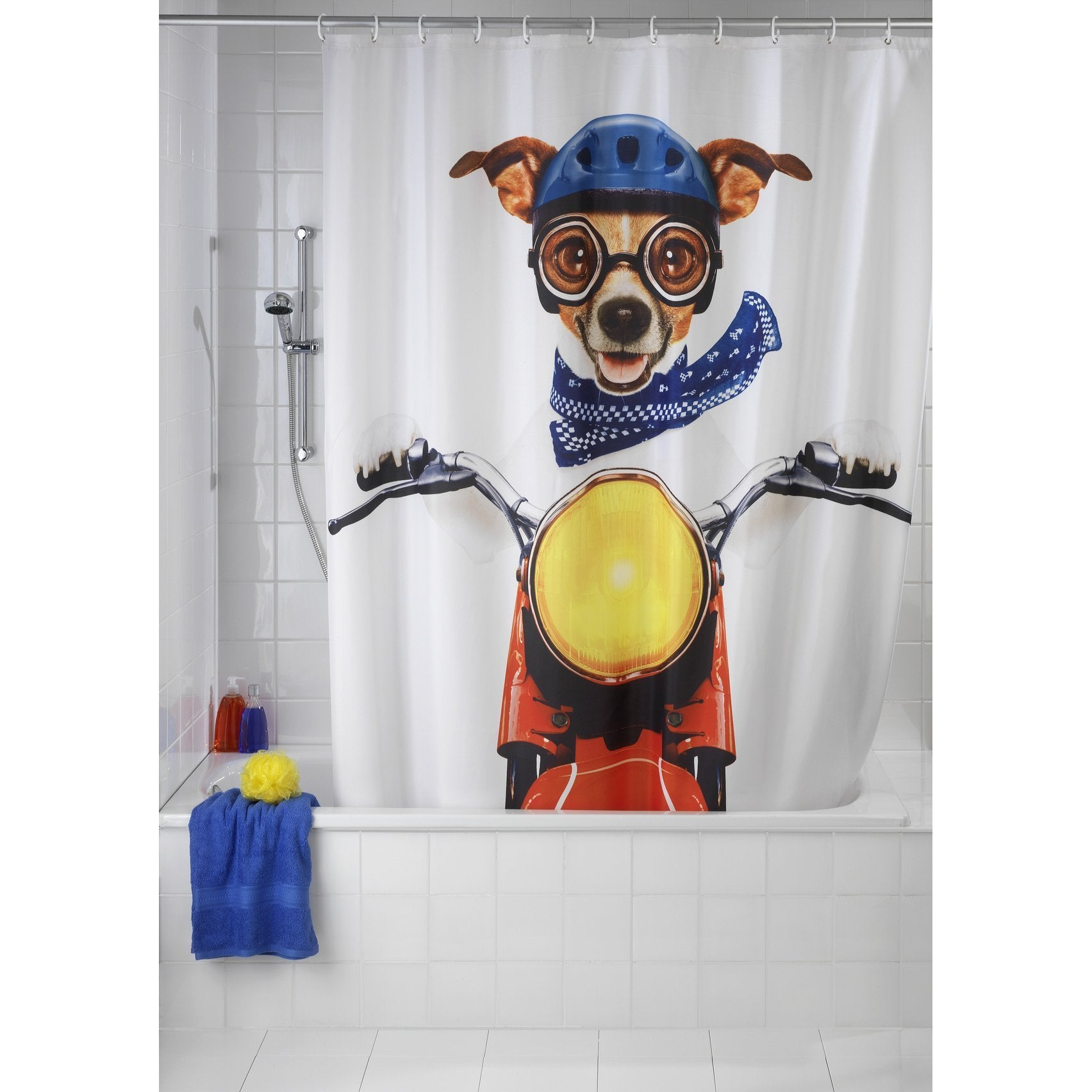 Shop Wenko Biker Dog 71x79 Polyester Shower Curtain - Free Shipping ...