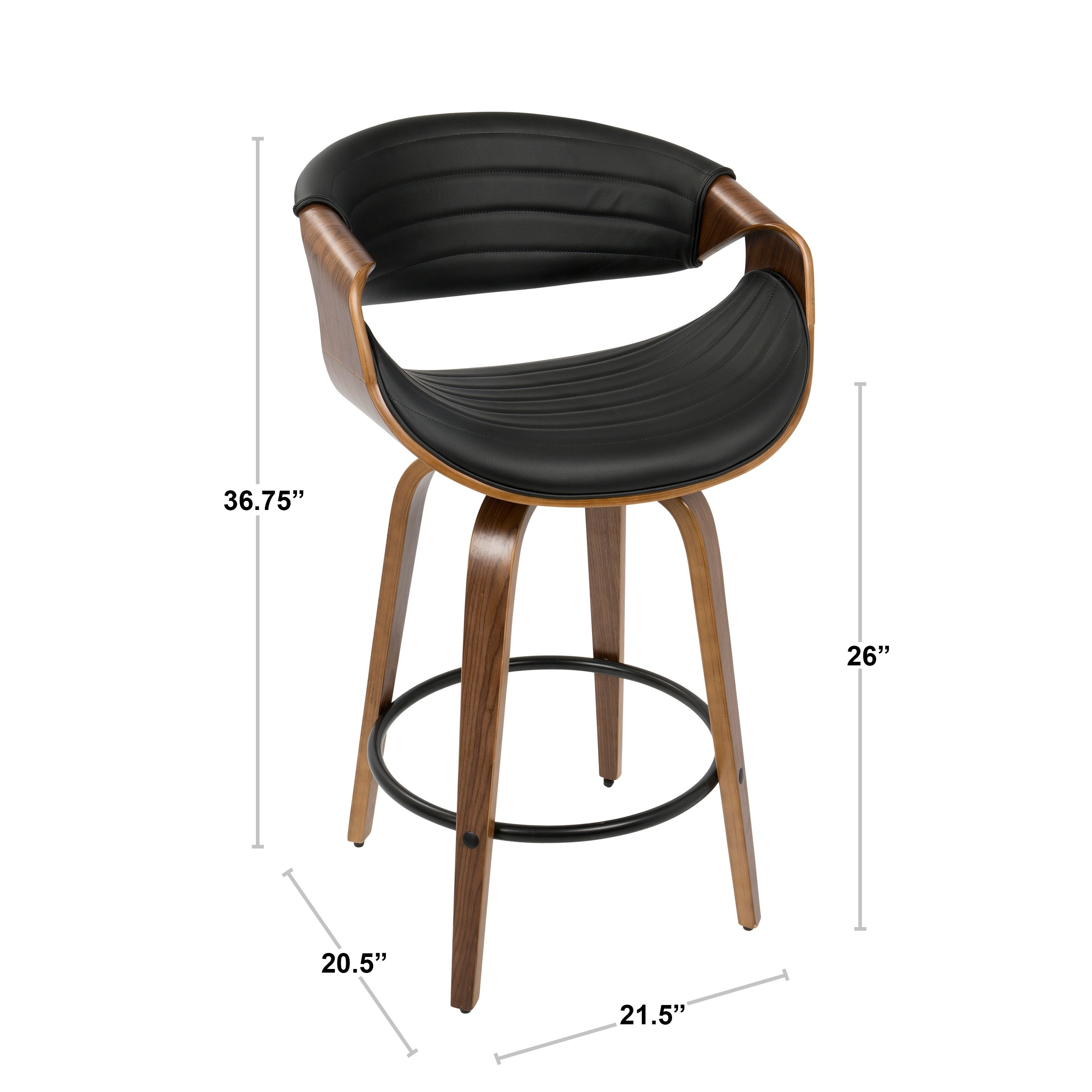 Shop symphony mid century modern counter stool in walnut wood and faux leather on sale free shipping today overstock com 15859229