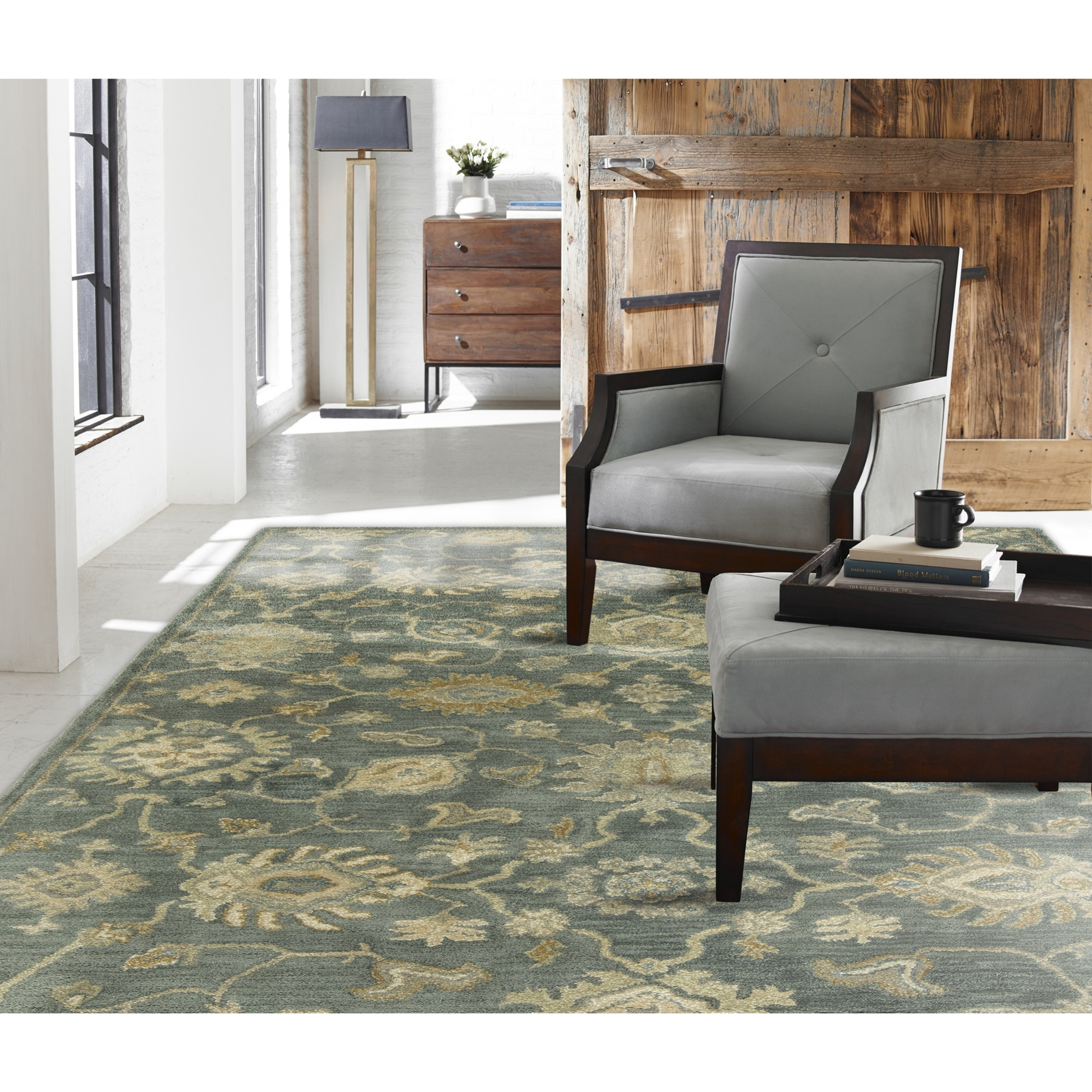Shop seville mineral blue hand tufted area rug 76 x 96 on sale free shipping today overstock com 15859734
