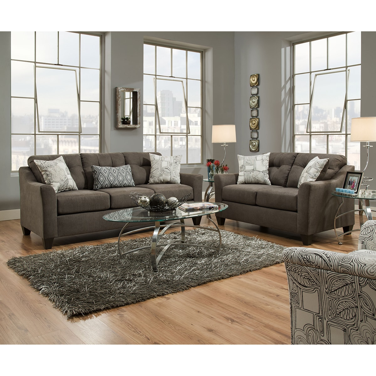 Shop Simmons Upholstery Encino Charcoal Sofa   Free Shipping Today    Overstock.com   15860633