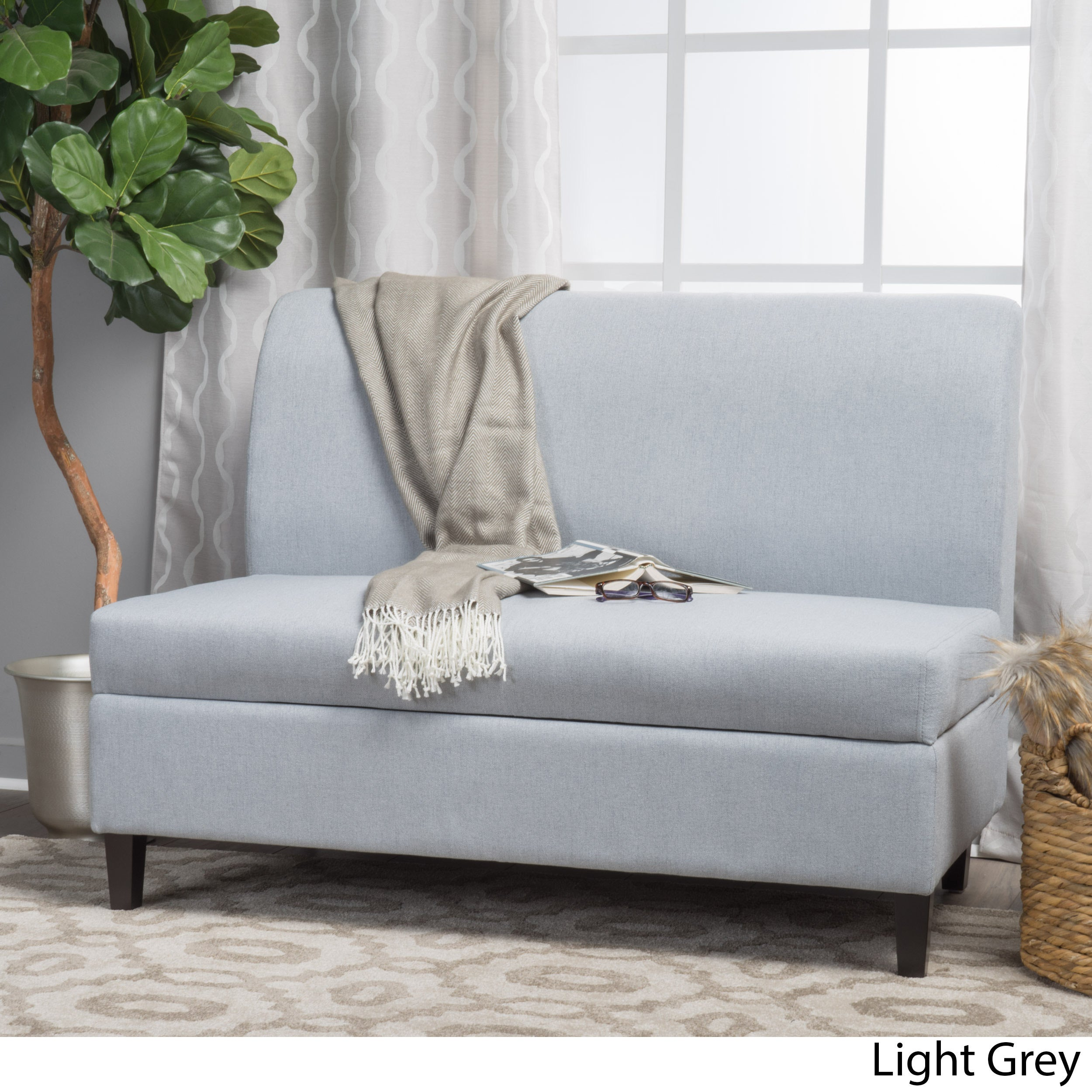 Superior Tovah Fabric Storage Loveseat By Christopher Knight Home   Free Shipping  Today   Overstock   22271579